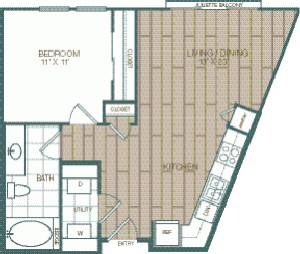644 sq. ft. Del Rey floor plan