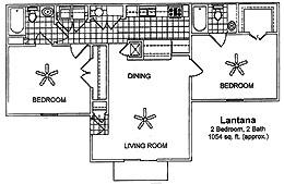 1,050 sq. ft. LANTANA floor plan
