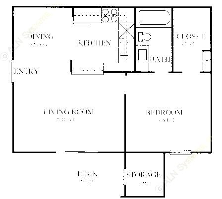 606 sq. ft. A2 floor plan