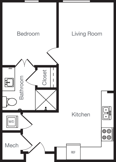 562 sq. ft. 1K floor plan