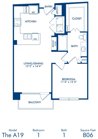 806 sq. ft. A19 floor plan