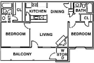 886 sq. ft. C floor plan