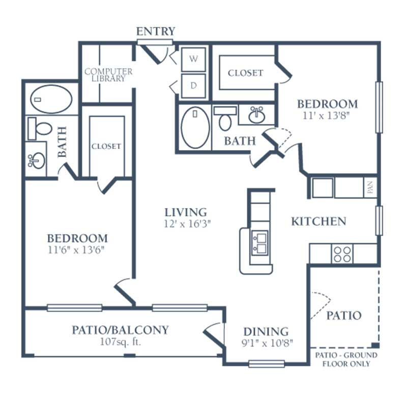 1,095 sq. ft. E floor plan