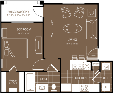 608 sq. ft. Athens floor plan