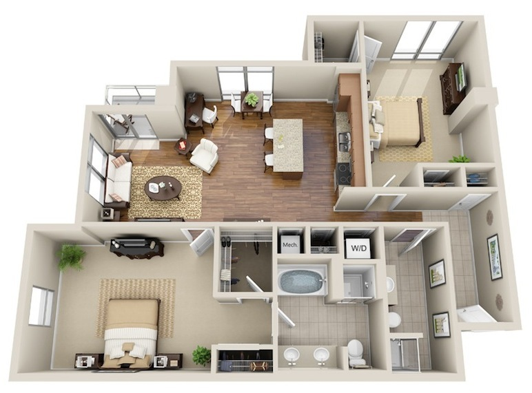 1,260 sq. ft. B3 floor plan
