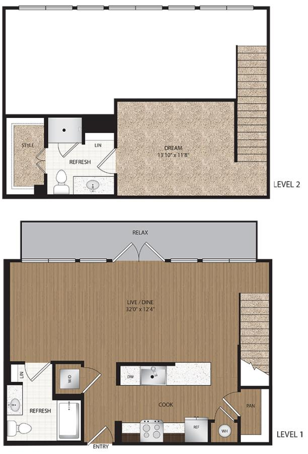 1,019 sq. ft. A4-Penthouse floor plan
