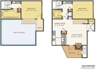 1,019 sq. ft. GALVESTON floor plan