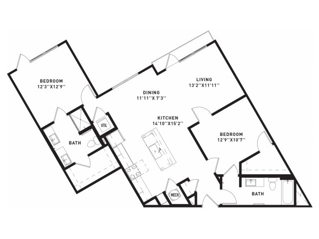 1,129 sq. ft. B8 floor plan