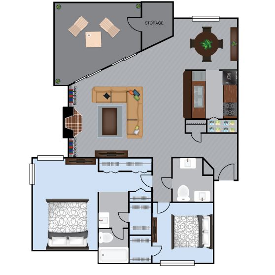 1,195 sq. ft. B2 floor plan