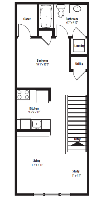 629 sq. ft. A floor plan