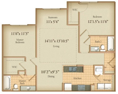 1,130 sq. ft. WoodHaven floor plan