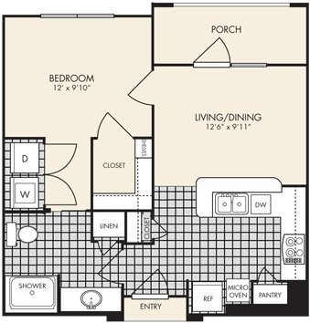 575 sq. ft. Lombardy floor plan