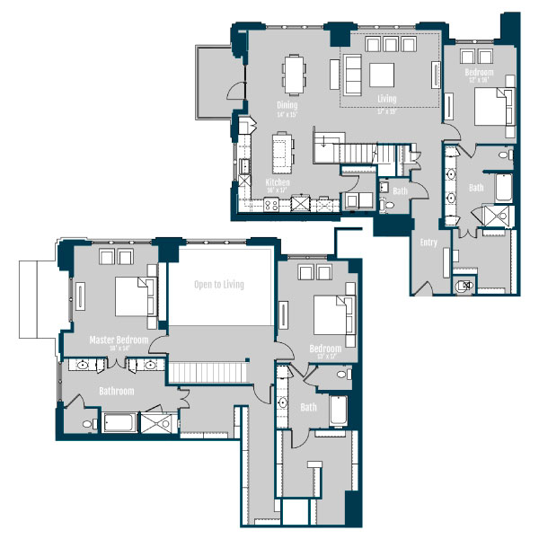3,329 sq. ft. PH 5 floor plan