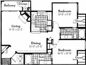 1,140 sq. ft. B2 floor plan