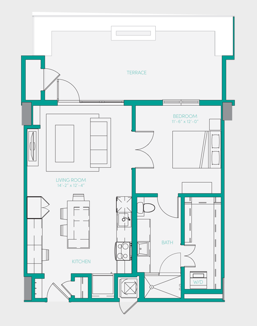 729 sq. ft. A1.14 floor plan