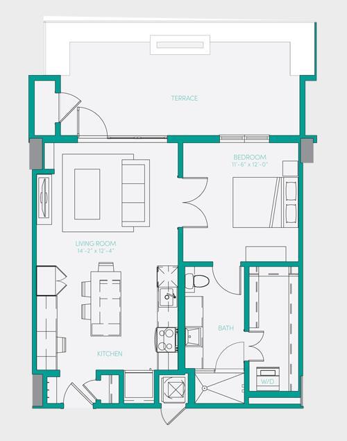 729 sq. ft. A1.14 floor plan