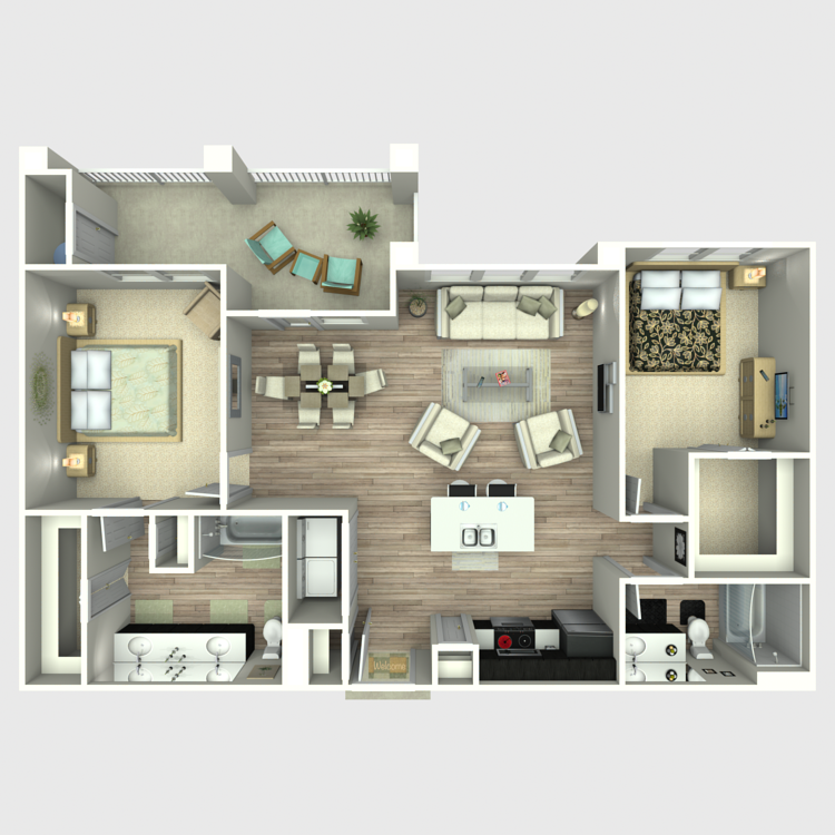 1,131 sq. ft. B3 floor plan
