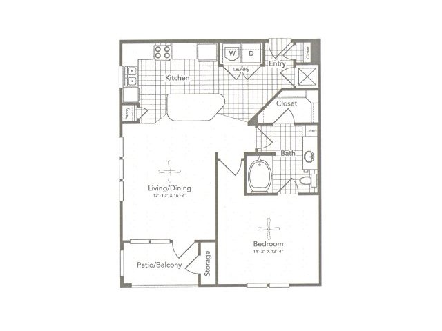 828 sq. ft. A5 West floor plan
