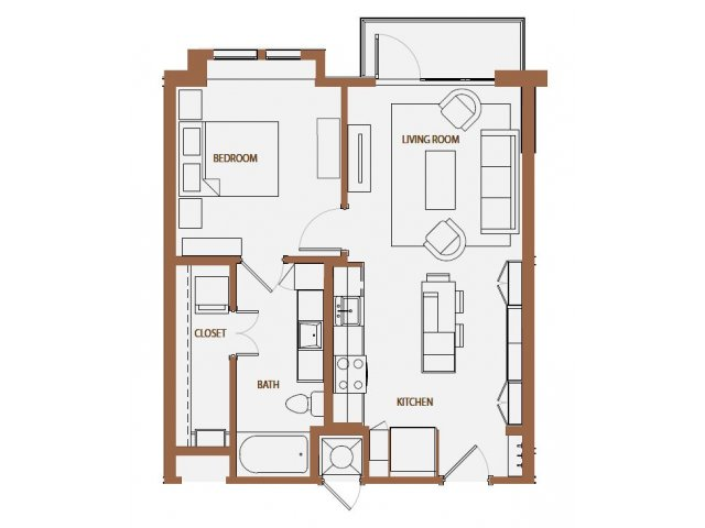 665 sq. ft. A1-2 floor plan