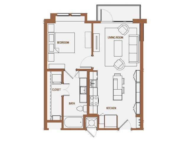 665 sq. ft. A1-2 floor plan