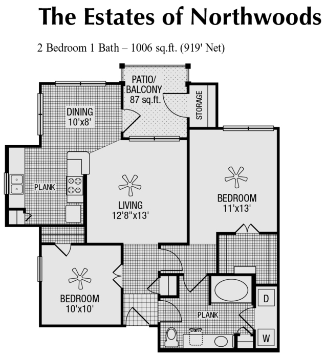 919 sq. ft. to 1,006 sq. ft. E floor plan