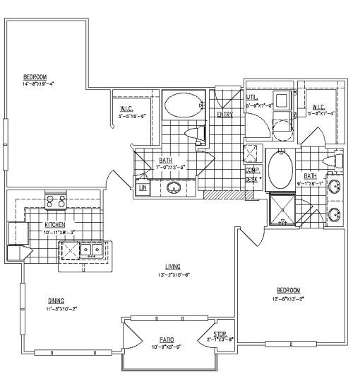 1,244 sq. ft. B2B floor plan
