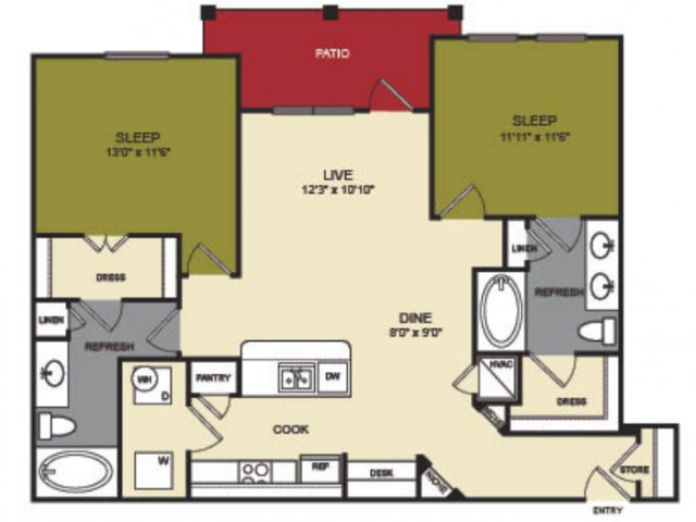 1,117 sq. ft. Trinity floor plan