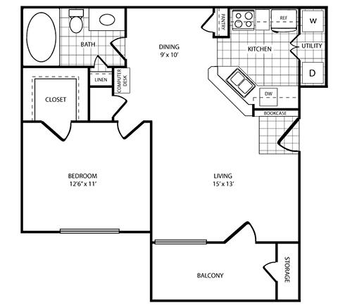 745 sq. ft. Lagoon floor plan
