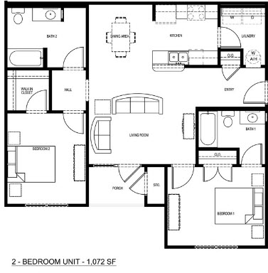 1,072 sq. ft. 60% floor plan