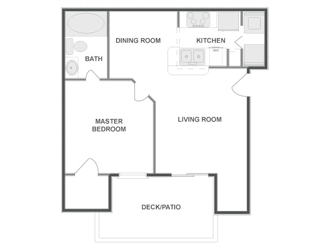643 sq. ft. KEYSTONE floor plan