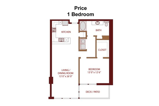953 sq. ft. Price A5 floor plan