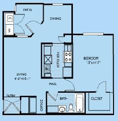 734 sq. ft. Madeline floor plan