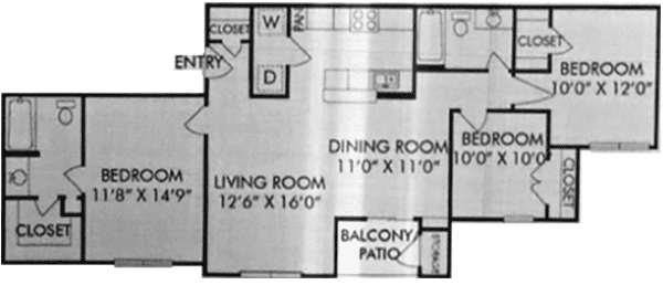 1,178 sq. ft. E floor plan