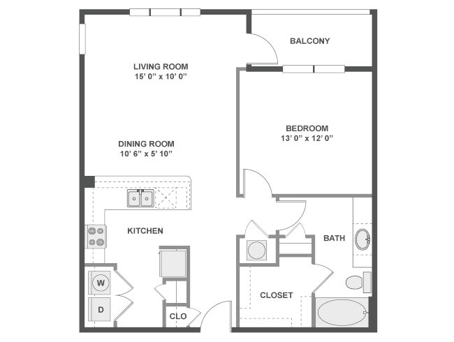 840 sq. ft. Cordoba floor plan