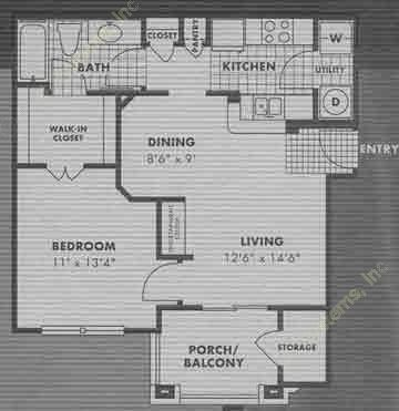 647 sq. ft. A2 floor plan