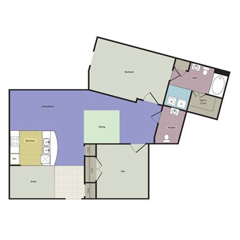 1,095 sq. ft. MONTEBELLO floor plan