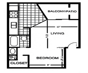 451 sq. ft. A floor plan