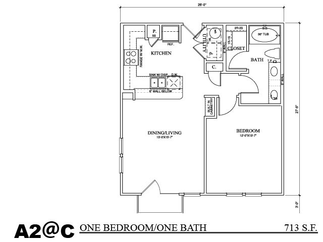 456 sq. ft. A1C2 floor plan