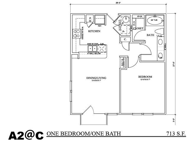 456 sq. ft. A1C2 floor plan