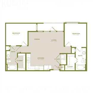 999 sq. ft. B1 floor plan