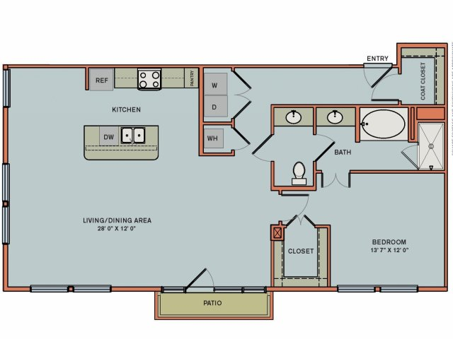 1,136 sq. ft. 2A6 floor plan