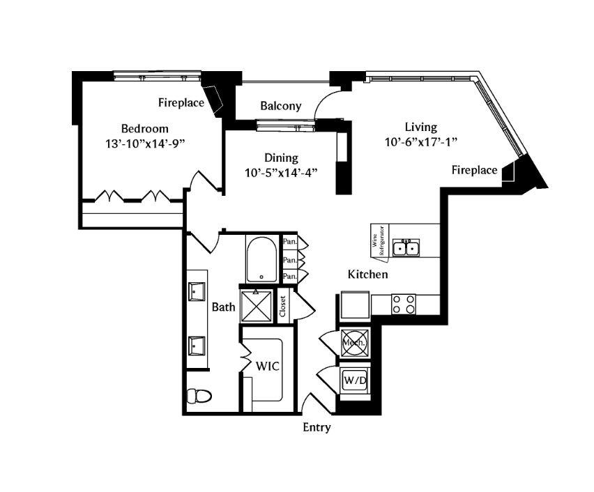 1,045 sq. ft. A8 floor plan