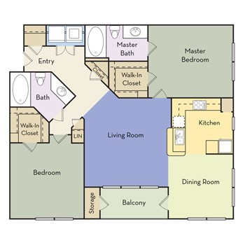 1,051 sq. ft. Ambrose/Paris - B2B II floor plan