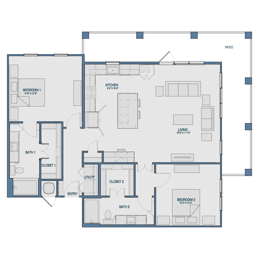 1,344 sq. ft. B2 floor plan
