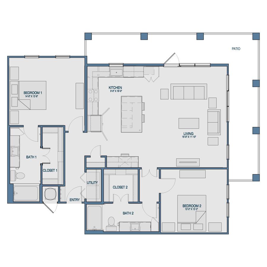 1,344 sq. ft. B2 floor plan