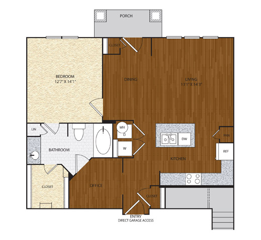 889 sq. ft. A4.2 floor plan