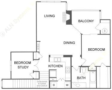 1,101 sq. ft. 2A floor plan
