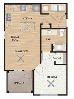 825 sq. ft. A3/Indigo floor plan