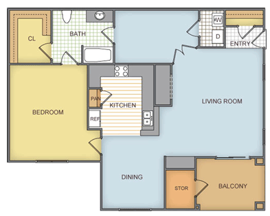 846 sq. ft. Huntwick - A4 floor plan