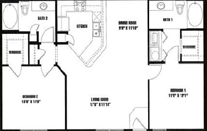 1,065 sq. ft. B2 floor plan